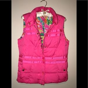 Lilly Pulitzer Hot Pink Kate Puffer Vest Sz M